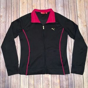 Puma Womens Track Activewear black jacket Sz L